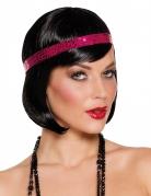 Perruque courte noire cabaret avec bandeau à sequins rose femme