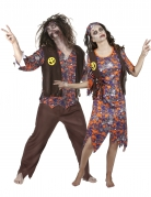 Déguisement de couple hippie zombie Halloween