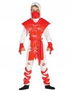 Déguisement ninja fantôme blanc et rouge garçon