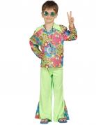 Déguisement hippie vert avec symboles colorés garçon