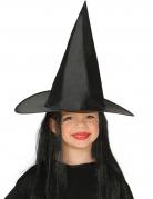 Chapeau sorcière avec cheveux noirs enfant