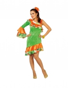 Déguisement danseuse rumba orange et verte femme