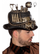 Chapeau Luxe Steampunk avec lampe de mineur Or