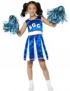 Déguisement pompom girl bleue effet satiné fille