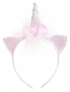 Serre-tête Licorne avec fleurs blanc et rose fille