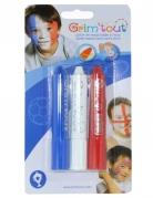 3 sticks maquillage bleu blanc et rouge Grim'Tout®