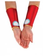 Manchettes métallisées rouges Iron man™ femme