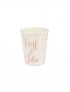 8 Gobelets en carton EVJF de folie rose gold 255 ml