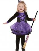 Déguisement jolie sorcière violette étoilée fille