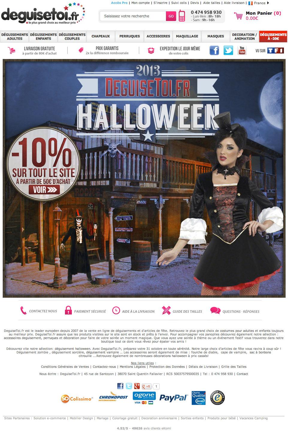 DeguiseToi - Reduction de 10 pourcent pour Halloween 2013